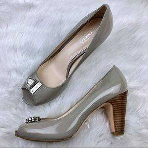 ⬇️$80 Coach   Helaine Silver Patent Leather Heels